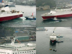 ariande as rainbow bell in japan assisted by tugs