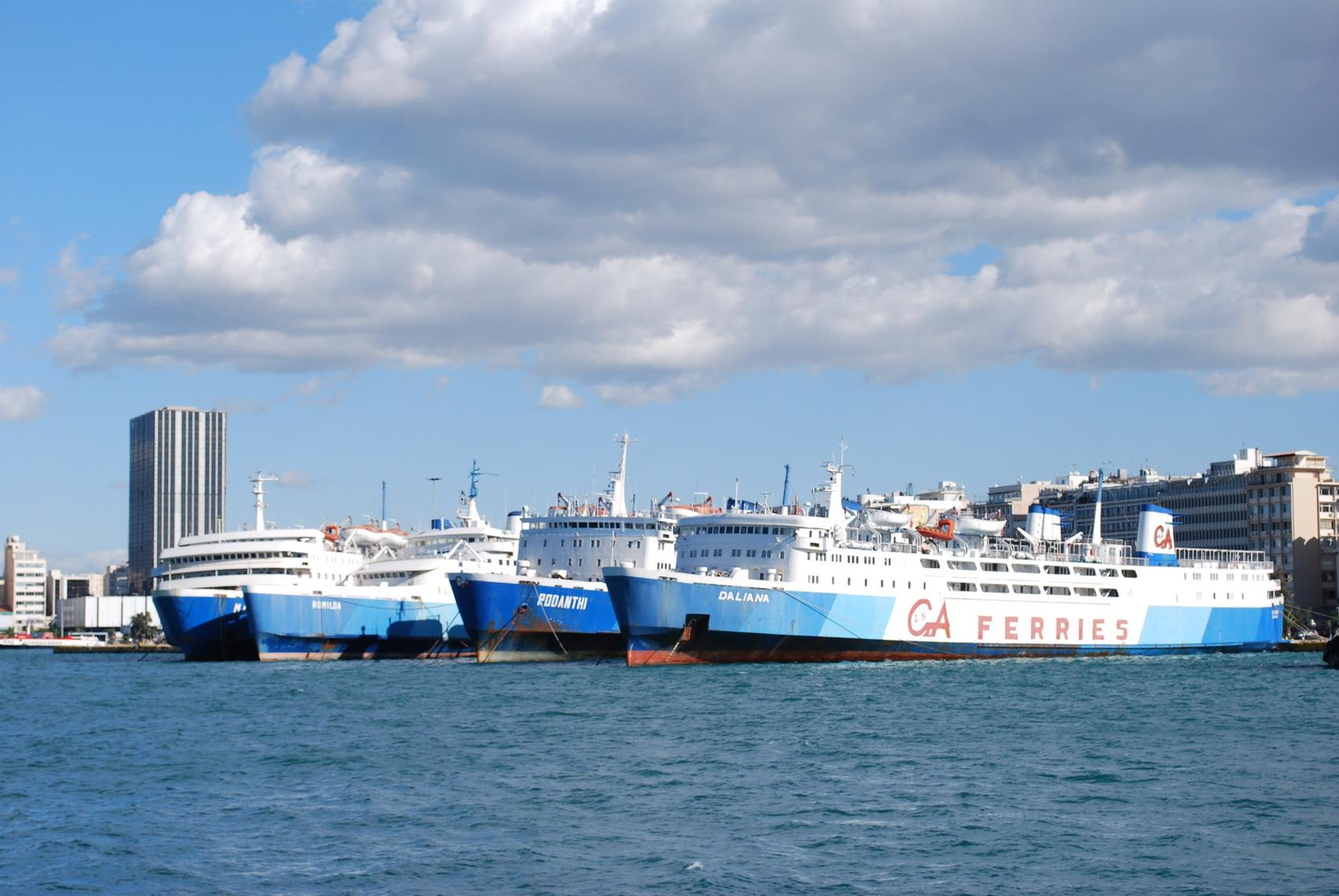 Ferry line-up at Piraeus