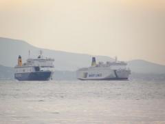 Lefka Ori & Blue Horizon anchored off patras