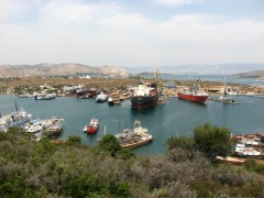panoramic view of salamina shipyards