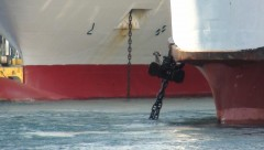 Vitsentzos Kornaros's stbd anchor in a tangle with Olympic Champion's port anchor chain a