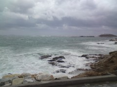 Port of Naxos in heavy wheather