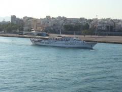 Aegean Glory departing, 4 8 2013