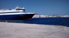 blue star naxos kiss with tinos breakwater 28072014