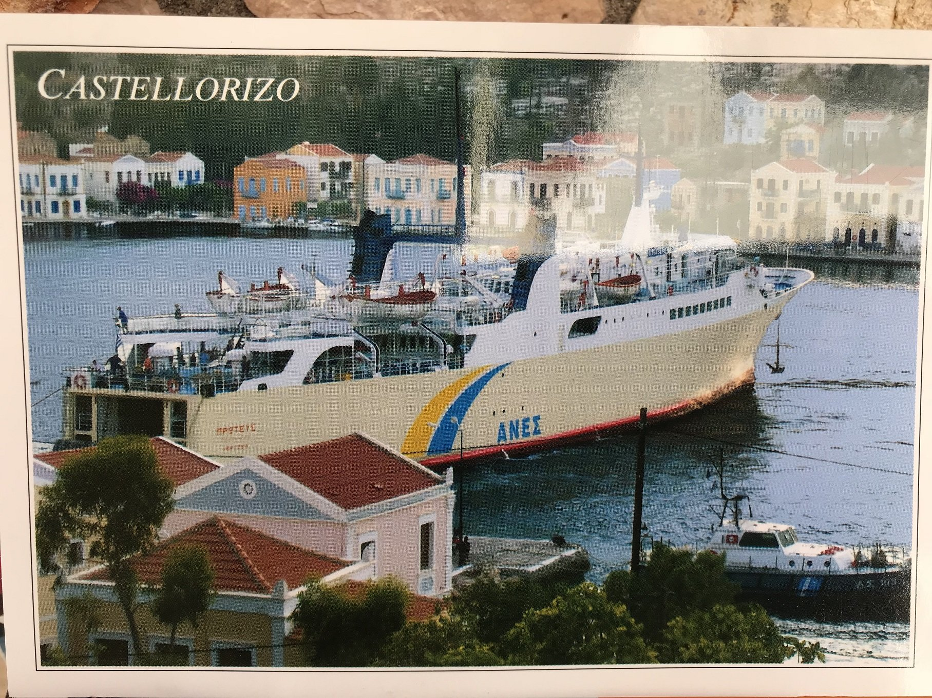 Proteas berthed in Kastellorizon. Carte postale discovered 09082018