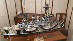 G. averof in dazzle camouflage,inside the ship's floating museum