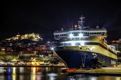 BLUE STAR MYCONOS anchored at Kavala Port
