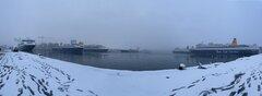 Blue Star Ferries fleet under heavy snow