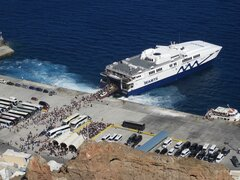 Power Jet embarkasion at Santorini